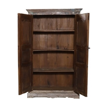 Oakville Handcrafted Solid Wood Antique Armoire with shelves