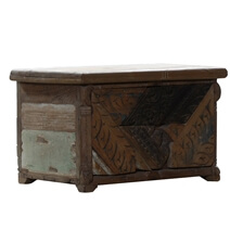 Ferryland Rustic Reclaimed Wood Antique Small Storage Trunk