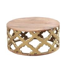 Kenora Cylindrical Lattice Pattern Golden Base Round Coffee Table