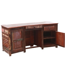 Sierra Handcrafted Reclaimed Wood Executive Desk with extra storage