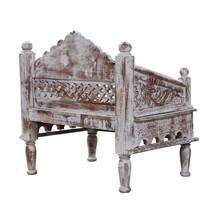 Khiva Rustic Solid Wood Handcrafted Moroccan Living Single Sofa