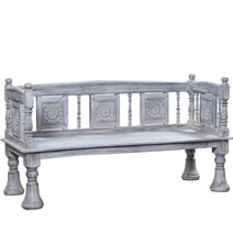 Digby Rustic Reclaimed Wood White Washed Handcrafted Traditional Bench