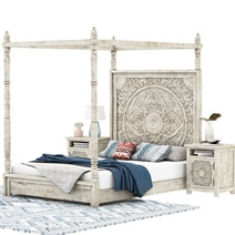 Memphis Weathered Hand-carved Solid Mahogany Wood Canopy Platform Bed