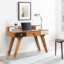 Souris Rustic Solid Wood Writing Desks For Small Spaces With Storage