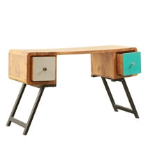 Souris Solid Wood 2 Drawer Writing Desks For Small Spaces With Storage