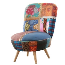 Chatham Multi-colored Large Round Slipper Chair Short Splayed Legs