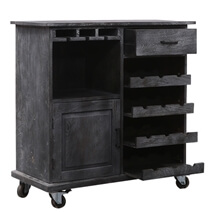 Knutsford Rustic Solid Wood Wine Bar Cabinet with Caster Wheels
