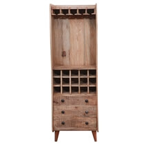 Marlow Rustic Solid Wood 3 Drawer Tall Bar Cabinet