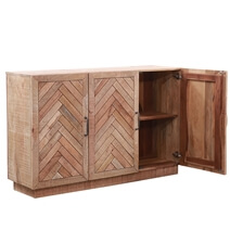 Margam Rustic Solid Wood 3-Door Herringbone Sideboard Cabinet
