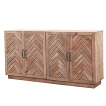 Margam Rustic Solid Wood 4-Door Herringbone Large Sideboard Cabinet