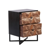 Bangor Rustic Solid Wood 2-Drawer Accent Nightstand