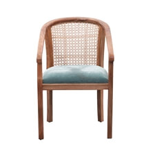 Chambery Solid Wood Woven-Rattan Back Upholstered Armchair