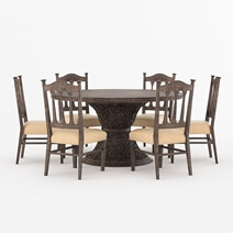 Atherton Solid Teak Wood Handcrafted Round Dining Table Chair Set