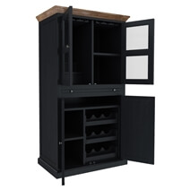 Rovigo Solid Teak Wood Tall Two-Tone Bar Cabinet with Double Doors