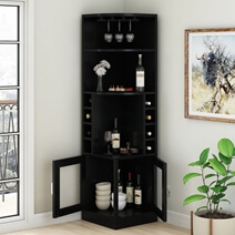 Padua Handcrafted Solid Wood Tall Corner Bar Cabinet with 2 Doors
