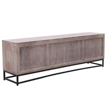 Dunkeld Rustic Solid Wood 4-Door Large TV Cabinet With Iron Base