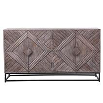 Dunkeld Rustic Solid Wood 4 Door Modern Large Sideboard Cabinet