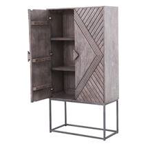 Dunkeld Rustic Solid Wood Modern Accent Storage Cabinet with Iron Base