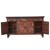 Greenock Rustic Solid Wood Farmhouse Parquet Large Sideboard Cabinet