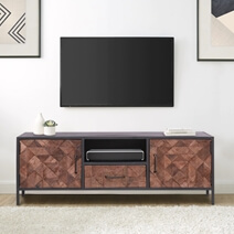 Strasbourg Modern Rustic Solid wood and Iron Rustic Media Cabinet