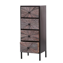 Corsica Sunburst Iron & Solid Wood Industrial Chest of Drawers