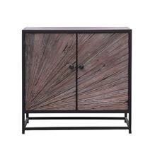 Corsica Sunburst Solid Wood & Iron 2-Door Industrial Storage Cabinet