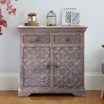 Peru Hand-carved Solid Wood Vintage 2 Drawer Rustic Storage Cabinet