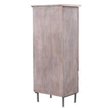 Tarquin Hand-Carved Solid Wood Armoire with Iron Accents