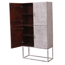 Bourke Distressed Solid Wood Handcrafted Modern Storage Cabinet