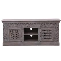 """Temora Rustic Solid Wood 59"""" Double Lattice Door TV Media Cabinet"""