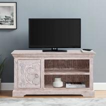 "Cobar Solid Wood Hand-carved One Door 47"" TV Media Cabinet"