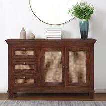 Bologna Solid Wood Woven Rattan Combo Dresser