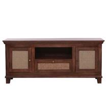 Bologna Solid Wood Woven Rattan Media Cabinet