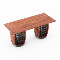 Grindelwald Solid Wood Industrial Bar Table with Barrel Pedestals