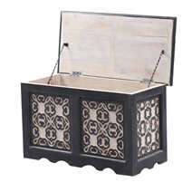 Veneto Solid Wood 2-Tone Vintage Storage Trunk with Lift Top