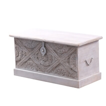 Lombardy Solid Wood Storage Trunk Coffee Table with Floral Carvings.