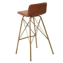 Pistoia Leather Seat Industrial Accent Bar Chair