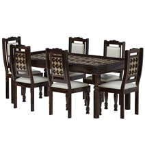 La Junta Brass Inlay Rustic Solid Rosewood 8 Piece Dining Room Set