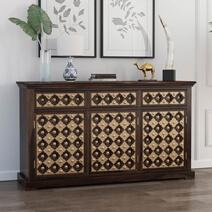 La Junta Brass Inlay Rustic Solid Rosewood Large Buffet Cabinet