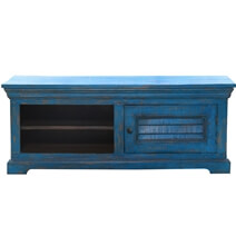 Hesperia Blue Distressed Solid Wood 47 TV Stand Media Cabinet