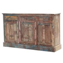 Olean Reclaimed Wood 3 Drawer Rustic Sideboard Cabinet