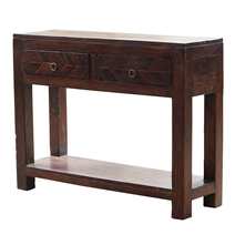 Silao Vintage Solid Wood 2 Drawer Console Table