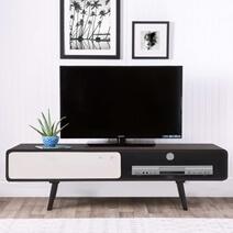 Curve Edge Modern Solid Wood TV Media Cabinet