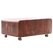 Reclaimed Wood Rounded Edge Coffee Table With Wheels