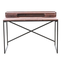 Solid Wood 2 Drawer 47 Writing Desk With Industrial base