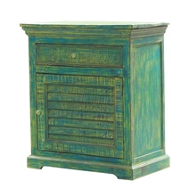 Solid Wood Distressed Green Storage Cabinet