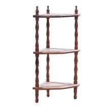 Solid Wood 3 Tier Corner Shelf Decor