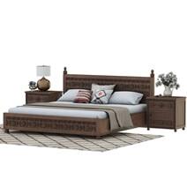 Newari Rustic Solid Mahogany Wood Hand-Carved 3-Piece Bedroom Set