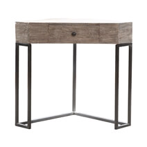 Solid Wood Contemporary Console Table With Industrial base