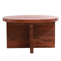 Solid Wood Contemporary Round Top Coffee Table